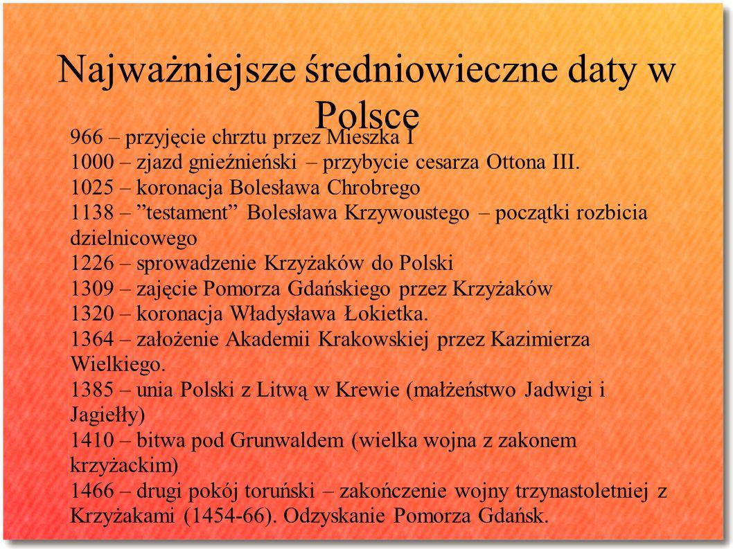 Najważniejsze średniowieczne daty w Polsce 966 – przyjęcie chrztu przez Mieszka I 1000 – zjazd gnieźnieński – przybycie cesarza Ottona III. 1025 – kor