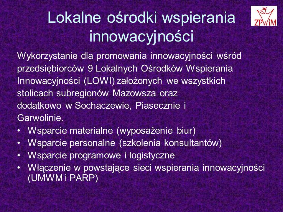 Lokalne ośrodki wspierania innowacyjności Wykorzystanie dla promowania innowacyjności wśród przedsiębiorców 9 Lokalnych Ośrodków Wspierania Innowacyjności (LOWI) założonych we wszystkich stolicach subregionów Mazowsza oraz dodatkowo w Sochaczewie, Piasecznie i Garwolinie.