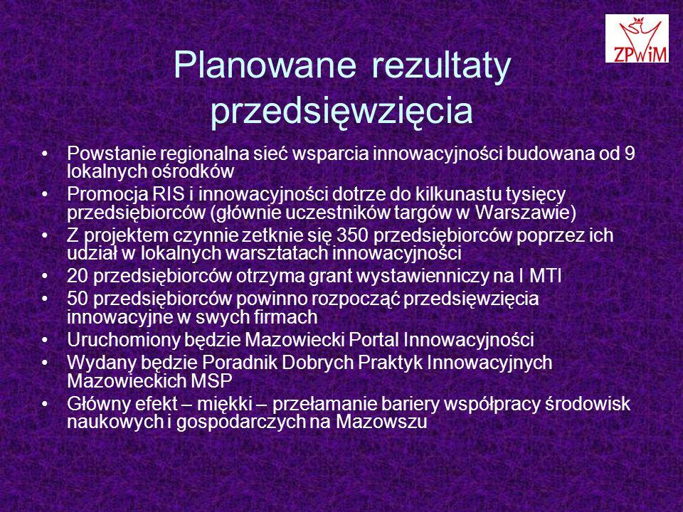 Planowane rezultaty przedsięwzięcia Powstanie regionalna sieć wsparcia innowacyjności budowana od 9 lokalnych ośrodków Promocja RIS i innowacyjności dotrze do kilkunastu tysięcy przedsiębiorców (głównie uczestników targów w Warszawie) Z projektem czynnie zetknie się 350 przedsiębiorców poprzez ich udział w lokalnych warsztatach innowacyjności 20 przedsiębiorców otrzyma grant wystawienniczy na I MTI 50 przedsiębiorców powinno rozpocząć przedsięwzięcia innowacyjne w swych firmach Uruchomiony będzie Mazowiecki Portal Innowacyjności Wydany będzie Poradnik Dobrych Praktyk Innowacyjnych Mazowieckich MSP Główny efekt – miękki – przełamanie bariery współpracy środowisk naukowych i gospodarczych na Mazowszu