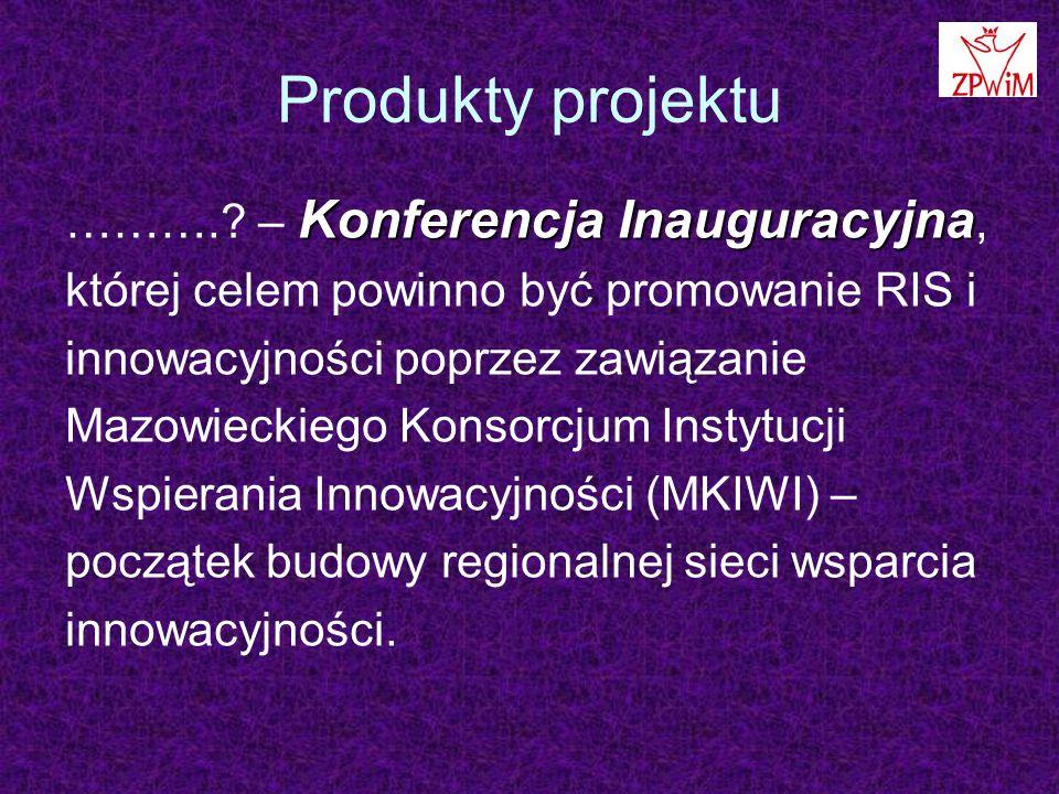 Produkty projektu Konferencja Inauguracyjna ………..