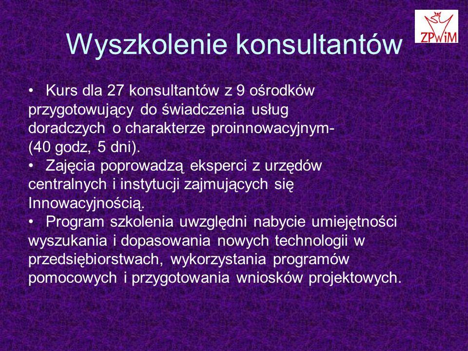 Wyszkolenie konsultantów Kurs dla 27 konsultantów z 9 ośrodków przygotowujący do świadczenia usług doradczych o charakterze proinnowacyjnym- (40 godz, 5 dni).