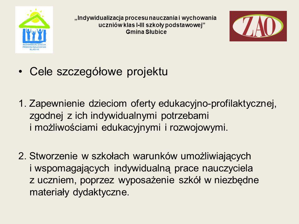 """""""Indywidualizacja procesu nauczania i wychowania uczniów klas I-III szkoły podstawowej Gmina Słubice 3."""