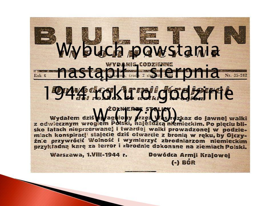 Celem Powstania Warszawskiego było:  wypędzenie Niemców ze stolicy,  ratowanie suwerenności i kształtu wschodniej granicy Polski,  obrona przed stw
