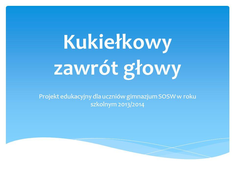 Kukiełkowy zawrót głowy Projekt edukacyjny dla uczniów gimnazjum SOSW w roku szkolnym 2013/2014