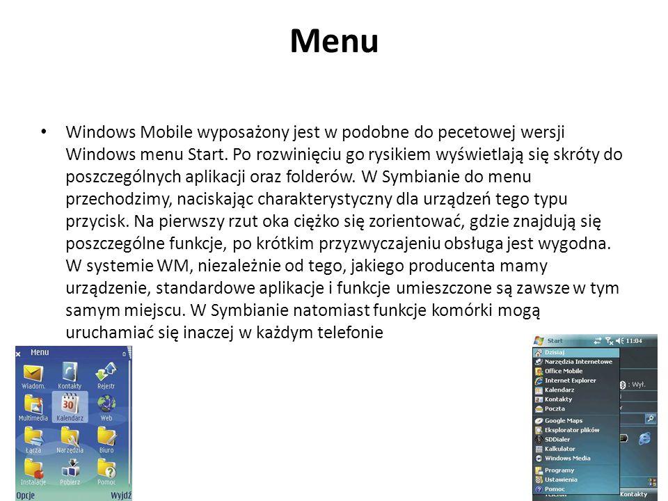 Menu Windows Mobile wyposażony jest w podobne do pecetowej wersji Windows menu Start. Po rozwinięciu go rysikiem wyświetlają się skróty do poszczególn