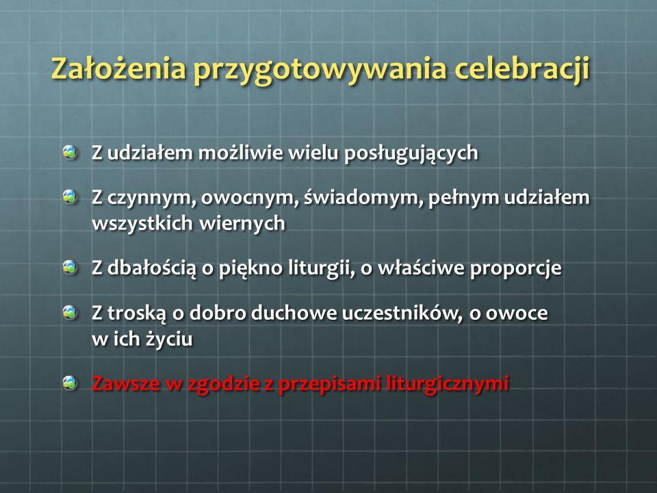 Przykładowy podział funkcji Ceremoniarz i jego pomocnicy Zakrystian Turyferariusz, nawikulariusz Ministrant krzyża Ministranci światła (2 albo 7) Ministranci ołtarza Ministrant wody Lektorzy Ministrant księgi Psałterzysta Kantor (i ew.