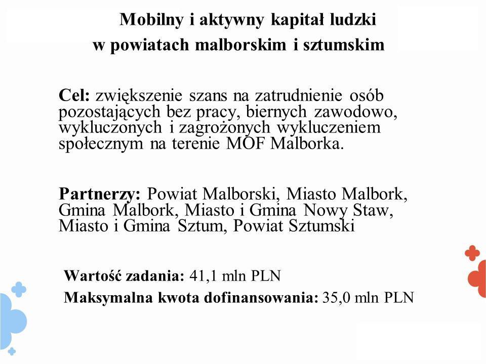 Mobilny i aktywny kapitał ludzki w powiatach malborskim i sztumskim Cel: zwiększenie szans na zatrudnienie osób pozostających bez pracy, biernych zawodowo, wykluczonych i zagrożonych wykluczeniem społecznym na terenie MOF Malborka.