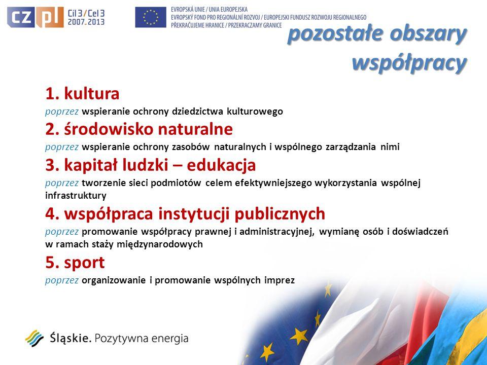 pozostałe obszary współpracy 1. kultura poprzez wspieranie ochrony dziedzictwa kulturowego 2.
