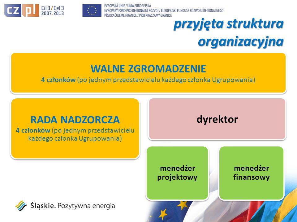 przyjęta struktura organizacyjna WALNE ZGROMADZENIE 4 członków (po jednym przedstawicielu każdego członka Ugrupowania) RADA NADZORCZA 4 członków (po jednym przedstawicielu każdego członka Ugrupowania) menedżer projektowy dyrektor menedżer finansowy