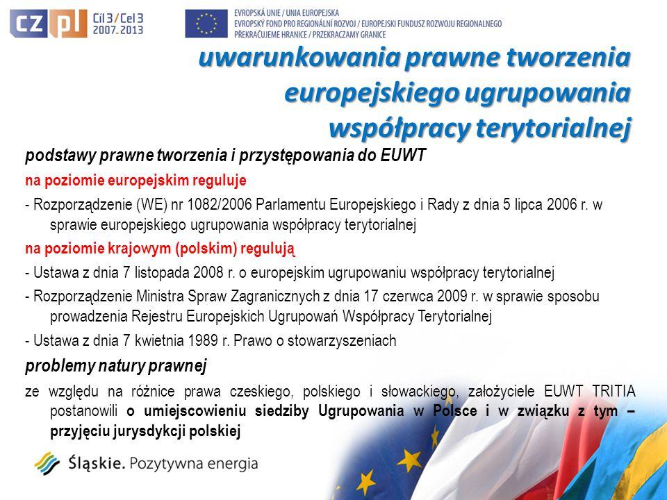 podstawy prawne tworzenia i przystępowania do EUWT na poziomie europejskim reguluje - Rozporządzenie (WE) nr 1082/2006 Parlamentu Europejskiego i Rady z dnia 5 lipca 2006 r.
