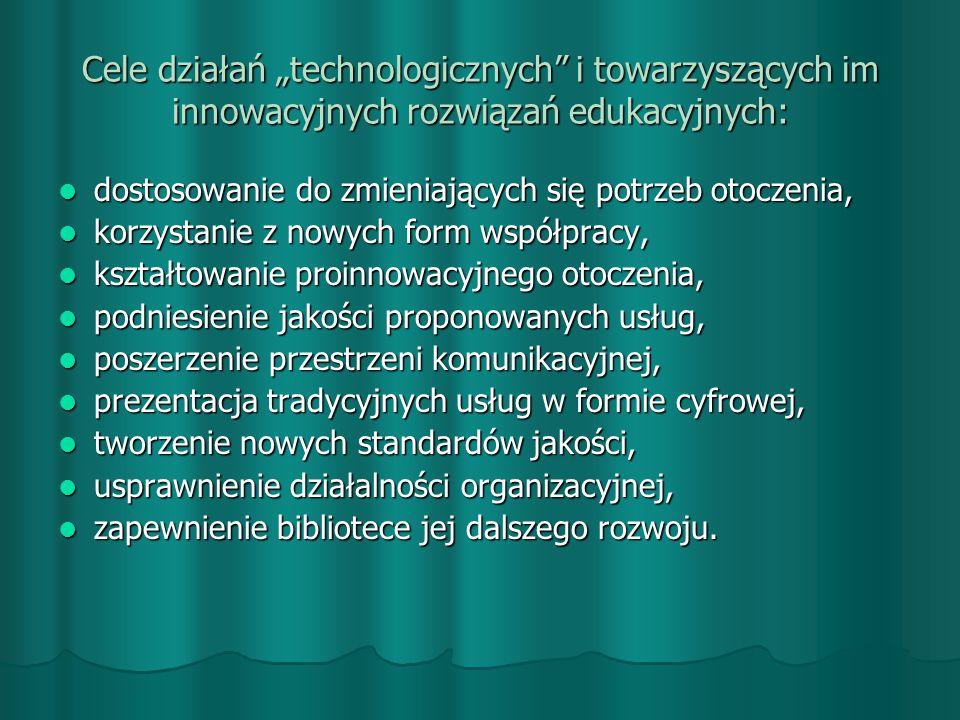 """Cele działań """"technologicznych i towarzyszących im innowacyjnych rozwiązań edukacyjnych: dostosowanie do zmieniających się potrzeb otoczenia, dostosowanie do zmieniających się potrzeb otoczenia, korzystanie z nowych form współpracy, korzystanie z nowych form współpracy, kształtowanie proinnowacyjnego otoczenia, kształtowanie proinnowacyjnego otoczenia, podniesienie jakości proponowanych usług, podniesienie jakości proponowanych usług, poszerzenie przestrzeni komunikacyjnej, poszerzenie przestrzeni komunikacyjnej, prezentacja tradycyjnych usług w formie cyfrowej, prezentacja tradycyjnych usług w formie cyfrowej, tworzenie nowych standardów jakości, tworzenie nowych standardów jakości, usprawnienie działalności organizacyjnej, usprawnienie działalności organizacyjnej, zapewnienie bibliotece jej dalszego rozwoju."""