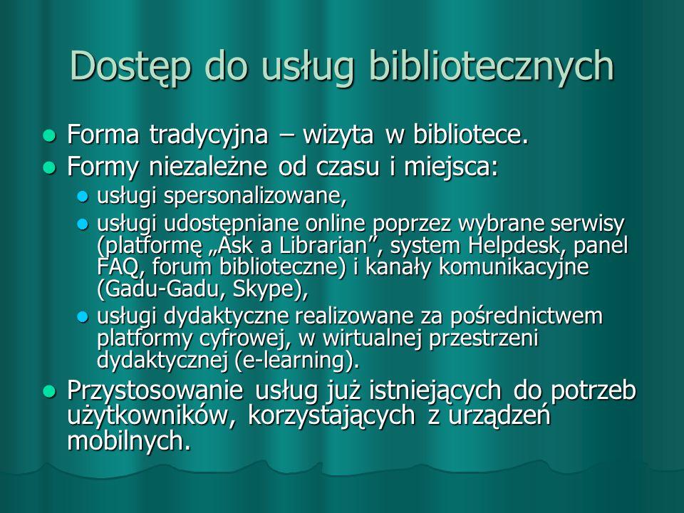 Formy aktywności biblioteki realizowane poprzez strony WWW: wysyłanie bezpłatnego newslettera, wysyłanie bezpłatnego newslettera, prowadzenie bloga, prowadzenie bloga, udział w forach i listach dyskusyjnych, udział w forach i listach dyskusyjnych, tworzenie prezentacji na potrzeby zajęć z przysposobienia bibliotecznego, tworzenie prezentacji na potrzeby zajęć z przysposobienia bibliotecznego, organizowanie szkoleń i kursów, organizowanie szkoleń i kursów, opracowywanie materiałów na temat zasobów edukacyjnych Internetu.