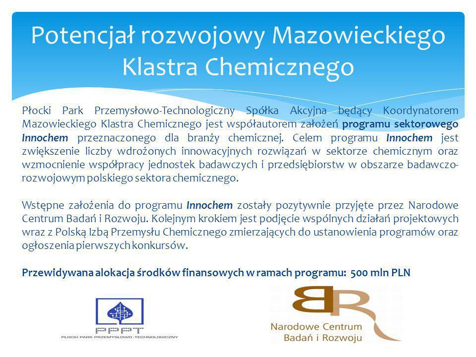 Płocki Park Przemysłowo-Technologiczny Spółka Akcyjna będący Koordynatorem Mazowieckiego Klastra Chemicznego jest współautorem założeń programu sektor