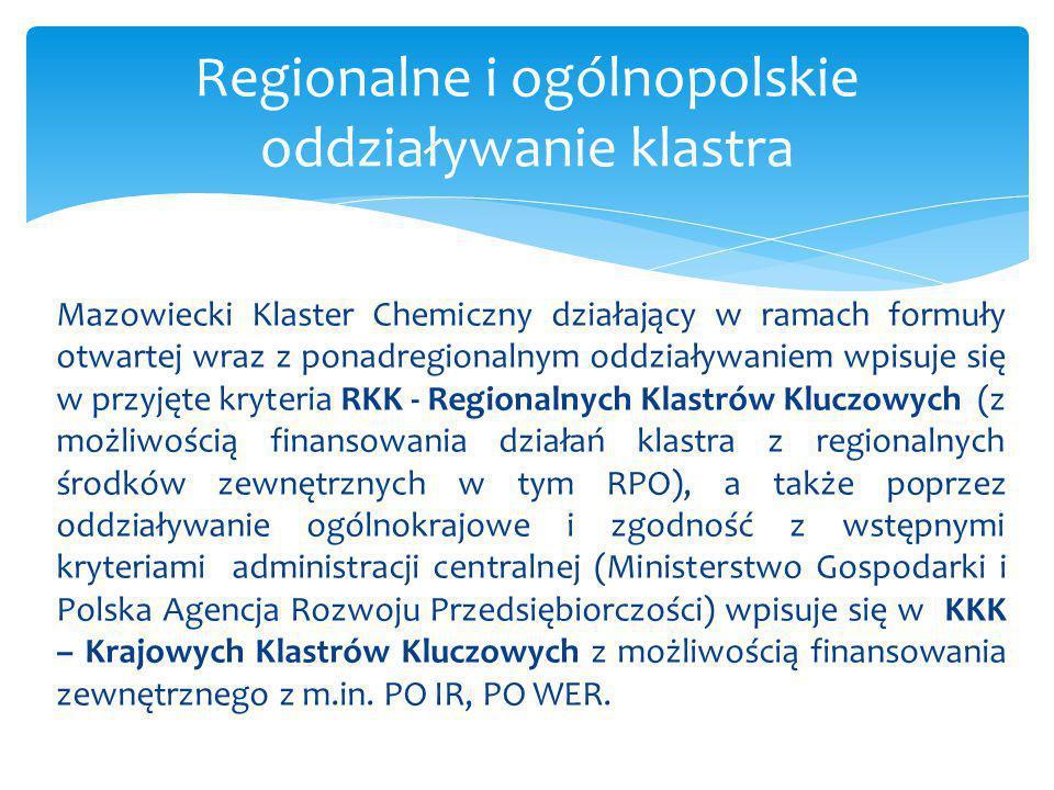 Mazowiecki Klaster Chemiczny działający w ramach formuły otwartej wraz z ponadregionalnym oddziaływaniem wpisuje się w przyjęte kryteria RKK - Regiona
