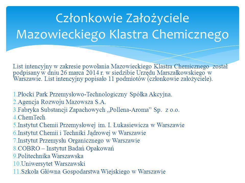 List intencyjny w zakresie powołania Mazowieckiego Klastra Chemicznego został podpisany w dniu 26 marca 2014 r. w siedzibie Urzędu Marszałkowskiego w
