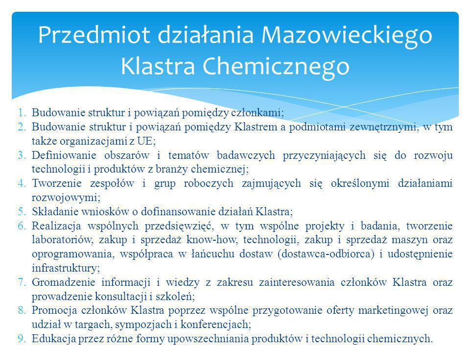 W skład Mazowieckiego Klastra Chemicznego wchodzi 65 podmiotów:  Sektor biznesu ( 43 podmioty gospodarcze)  Sektor badawczy (6 instytutów badawczych)  Sektor nauki (7 jednostek naukowych)  Sektor administracji/instytucji otoczenia biznesu/organizacje pozarządowe (9 podmiotów).