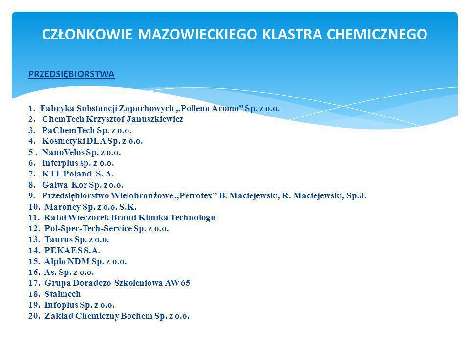 Mazowiecki Klaster Chemiczny działający w ramach formuły otwartej wraz z ponadregionalnym oddziaływaniem wpisuje się w przyjęte kryteria RKK - Regionalnych Klastrów Kluczowych (z możliwością finansowania działań klastra z regionalnych środków zewnętrznych w tym RPO), a także poprzez oddziaływanie ogólnokrajowe i zgodność z wstępnymi kryteriami administracji centralnej (Ministerstwo Gospodarki i Polska Agencja Rozwoju Przedsiębiorczości) wpisuje się w KKK – Krajowych Klastrów Kluczowych z możliwością finansowania zewnętrznego z m.in.