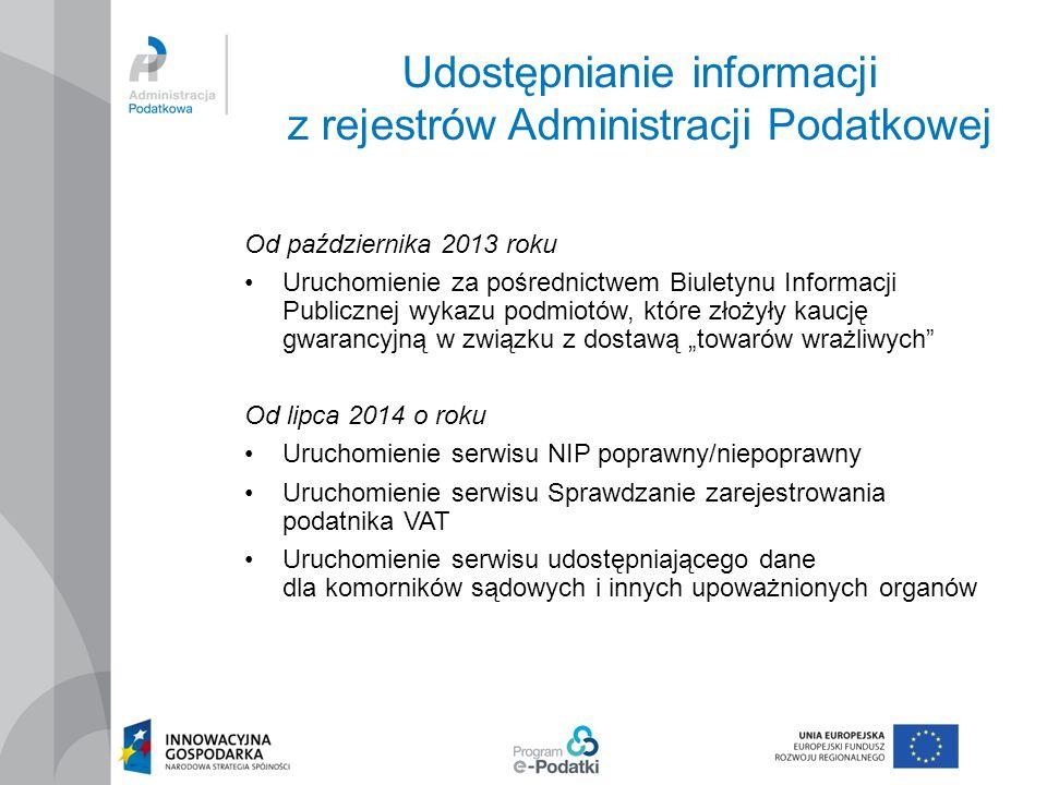 Udostępnianie informacji z rejestrów Administracji Podatkowej Od października 2013 roku Uruchomienie za pośrednictwem Biuletynu Informacji Publicznej