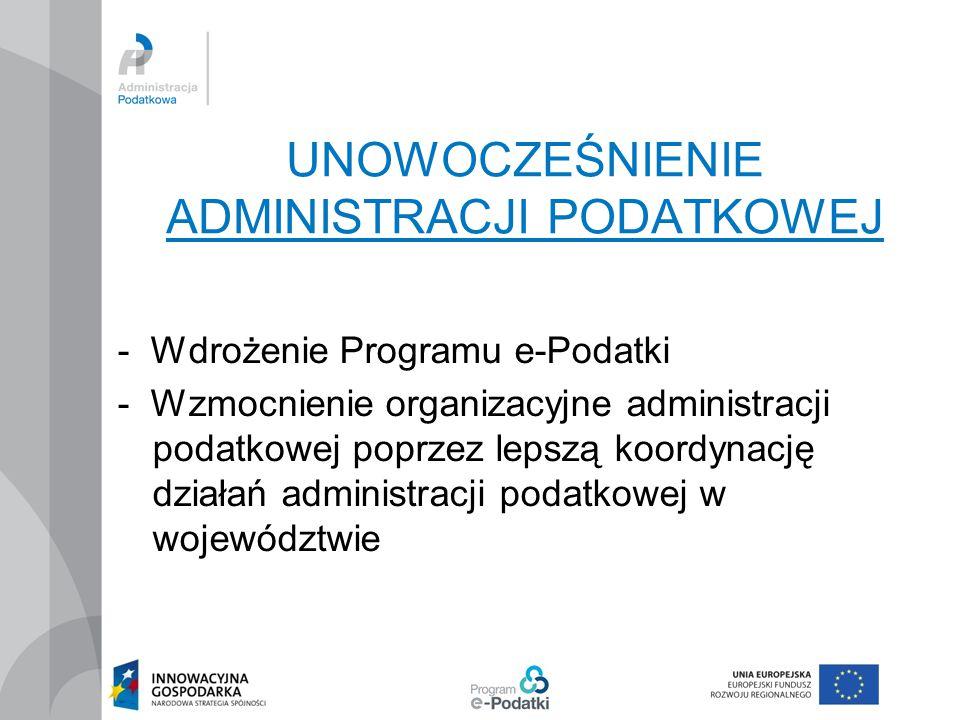 """Program e-Podatki Program """"e-Podatki jest zbiorem działań zmierzających do przeprowadzenia transformacji polskiej administracji podatkowej Są to działania organizacyjne, legislacyjne i informatyczne mające na celu wyposażenie administracji podatkowej w nowoczesne narzędzia zarządzania informacją"""