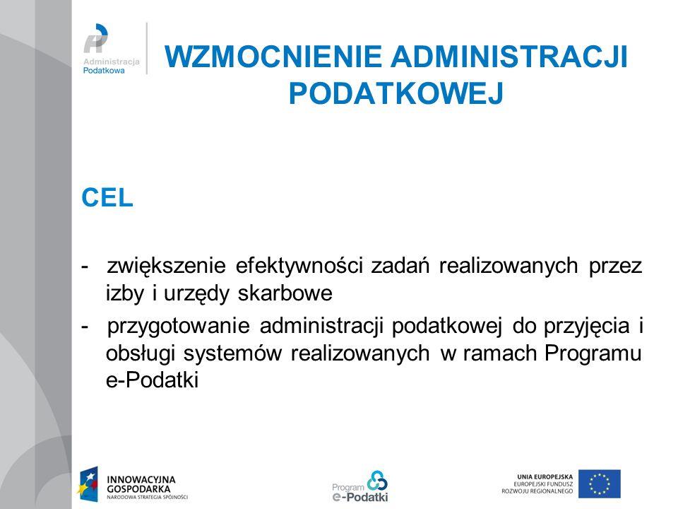 WZMOCNIENIE ADMINISTRACJI PODATKOWEJ CEL - zwiększenie efektywności zadań realizowanych przez izby i urzędy skarbowe - przygotowanie administracji pod