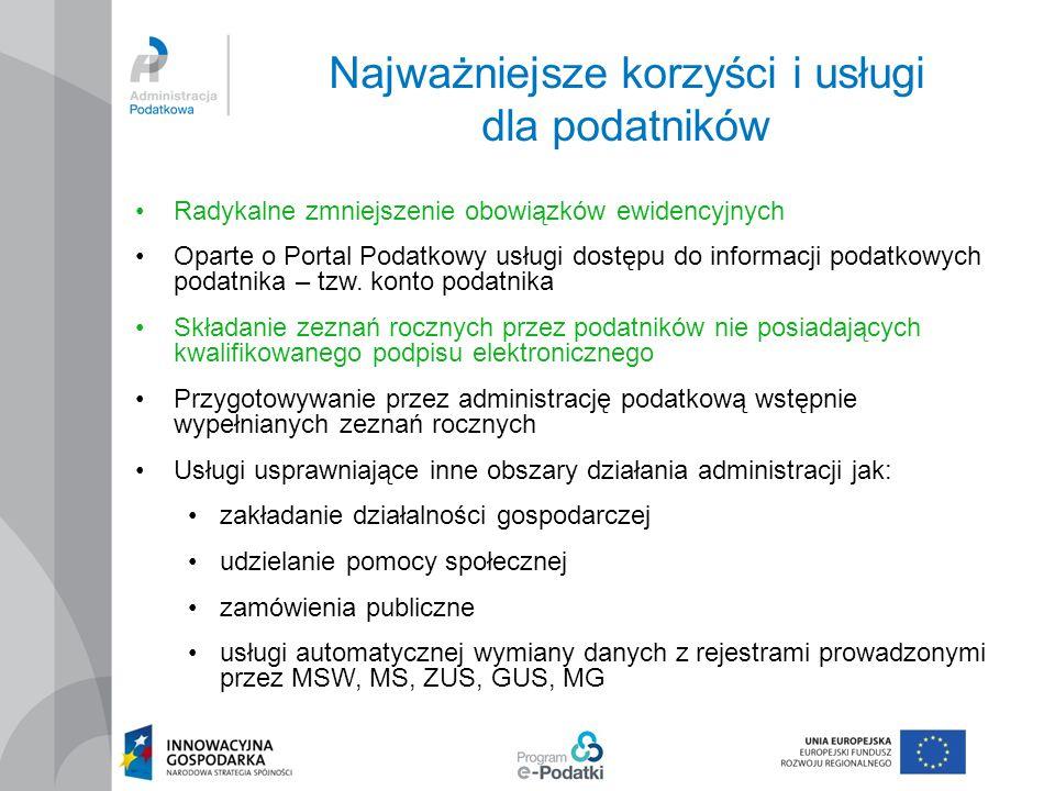 Najważniejsze korzyści i usługi dla podatników Radykalne zmniejszenie obowiązków ewidencyjnych Oparte o Portal Podatkowy usługi dostępu do informacji