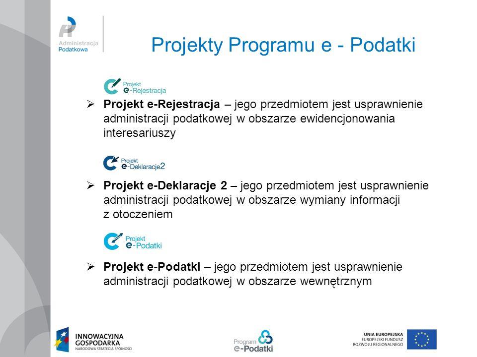 Projekty Programu e - Podatki  Projekt e-Rejestracja – jego przedmiotem jest usprawnienie administracji podatkowej w obszarze ewidencjonowania intere