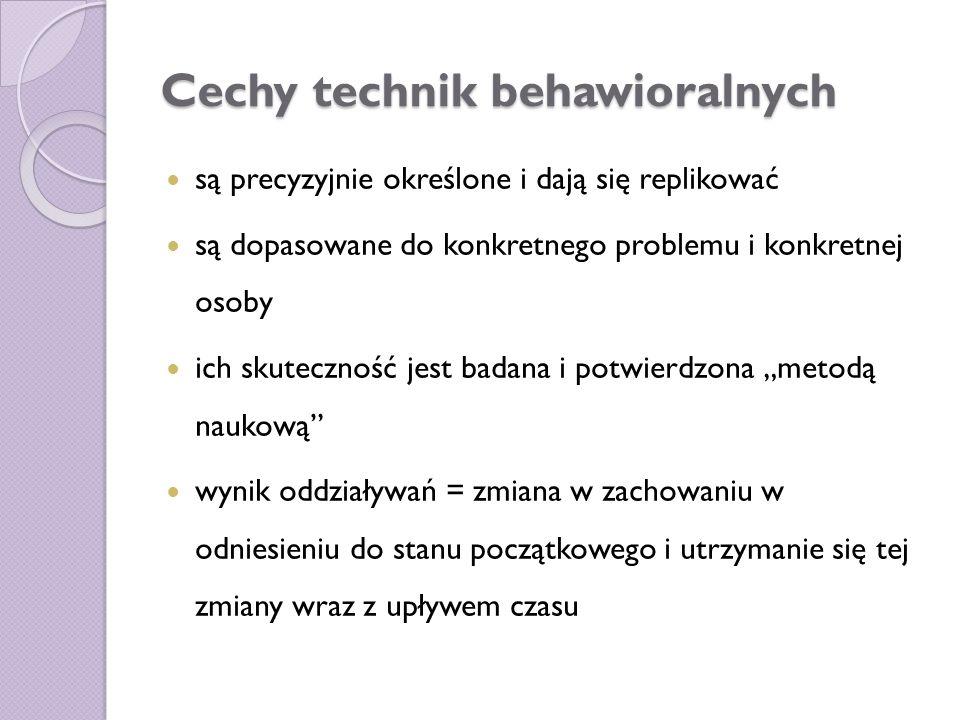 Cechy technik behawioralnych są precyzyjnie określone i dają się replikować są dopasowane do konkretnego problemu i konkretnej osoby ich skuteczność j