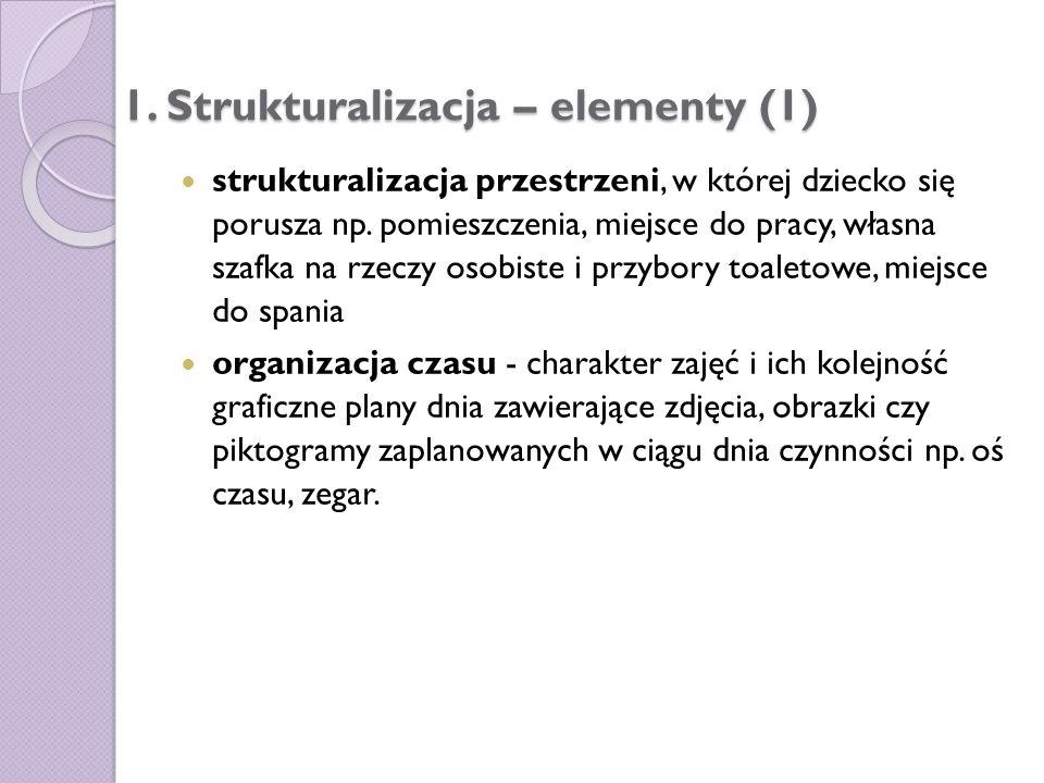 1. Strukturalizacja – elementy (1) strukturalizacja przestrzeni, w której dziecko się porusza np. pomieszczenia, miejsce do pracy, własna szafka na rz