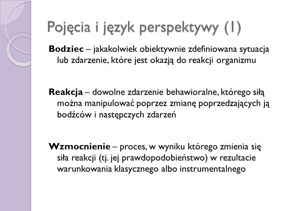 Pojęcia i język perspektywy (1) Bodziec – jakakolwiek obiektywnie zdefiniowana sytuacja lub zdarzenie, które jest okazją do reakcji organizmu Reakcja