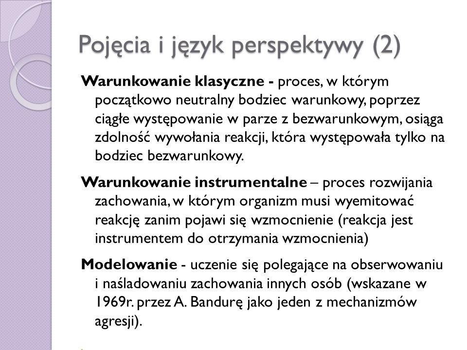 Pojęcia i język perspektywy (2) Warunkowanie klasyczne - proces, w którym początkowo neutralny bodziec warunkowy, poprzez ciągłe występowanie w parze