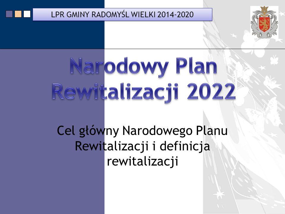 LPR Miasta Bochnia na lata 2014-2020 Cel główny Narodowego Planu Rewitalizacji i definicja rewitalizacji LPR GMINY RADOMYŚL WIELKI 2014-2020