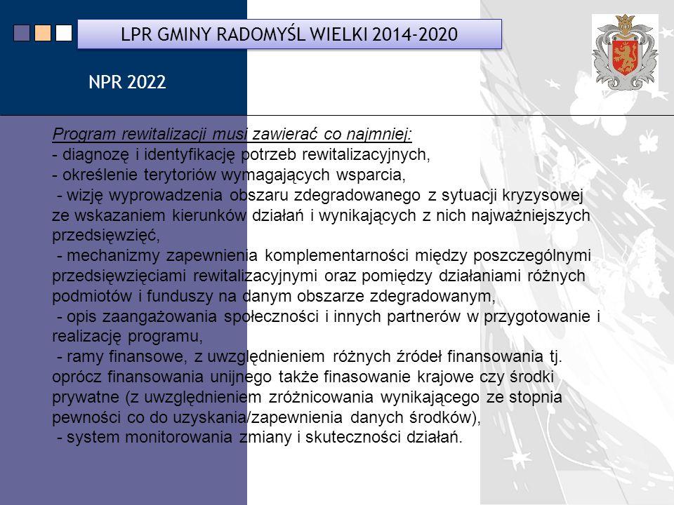 LPR Miasta Bochnia na lata 2014-2020 Program rewitalizacji musi zawierać co najmniej: - diagnozę i identyfikację potrzeb rewitalizacyjnych, - określenie terytoriów wymagających wsparcia, - wizję wyprowadzenia obszaru zdegradowanego z sytuacji kryzysowej ze wskazaniem kierunków działań i wynikających z nich najważniejszych przedsięwzięć, - mechanizmy zapewnienia komplementarności między poszczególnymi przedsięwzięciami rewitalizacyjnymi oraz pomiędzy działaniami różnych podmiotów i funduszy na danym obszarze zdegradowanym, - opis zaangażowania społeczności i innych partnerów w przygotowanie i realizację programu, - ramy finansowe, z uwzględnieniem różnych źródeł finansowania tj.