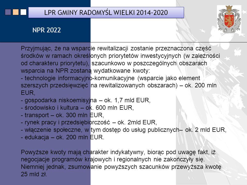 LPR Miasta Bochnia na lata 2014-2020 Przyjmując, że na wsparcie rewitalizacji zostanie przeznaczona część środków w ramach określonych priorytetów inwestycyjnych (w zależności od charakteru priorytetu), szacunkowo w poszczególnych obszarach wsparcia na NPR zostaną wydatkowane kwoty: - technologie informacyjno-komunikacyjne (wsparcie jako element szerszych przedsięwzięć na rewitalizowanych obszarach) – ok.