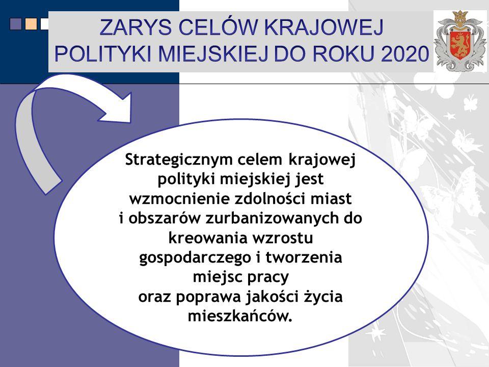 LPR Miasta Bochnia na lata 2014-2020 Strategicznym celem krajowej polityki miejskiej jest wzmocnienie zdolności miast i obszarów zurbanizowanych do kreowania wzrostu gospodarczego i tworzenia miejsc pracy oraz poprawa jakości życia mieszkańców.