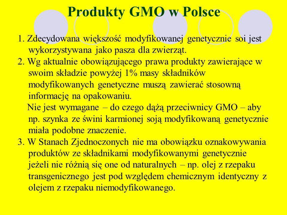 STREFY WOLNE OD GMO Strefą wolną od GMO jest obszar w obrębie którego nie są uprawiane rośliny modyfikowane genetycznie, nie są przetwarzane, ani sprz