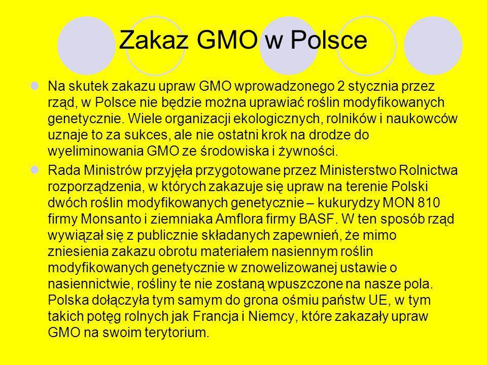 4. W Polsce prowadzone są kontrole, czy producenci stosują się do ustawowego nakazu informowania o składnikach modyfikowanych genetycznie. Kontrole wy
