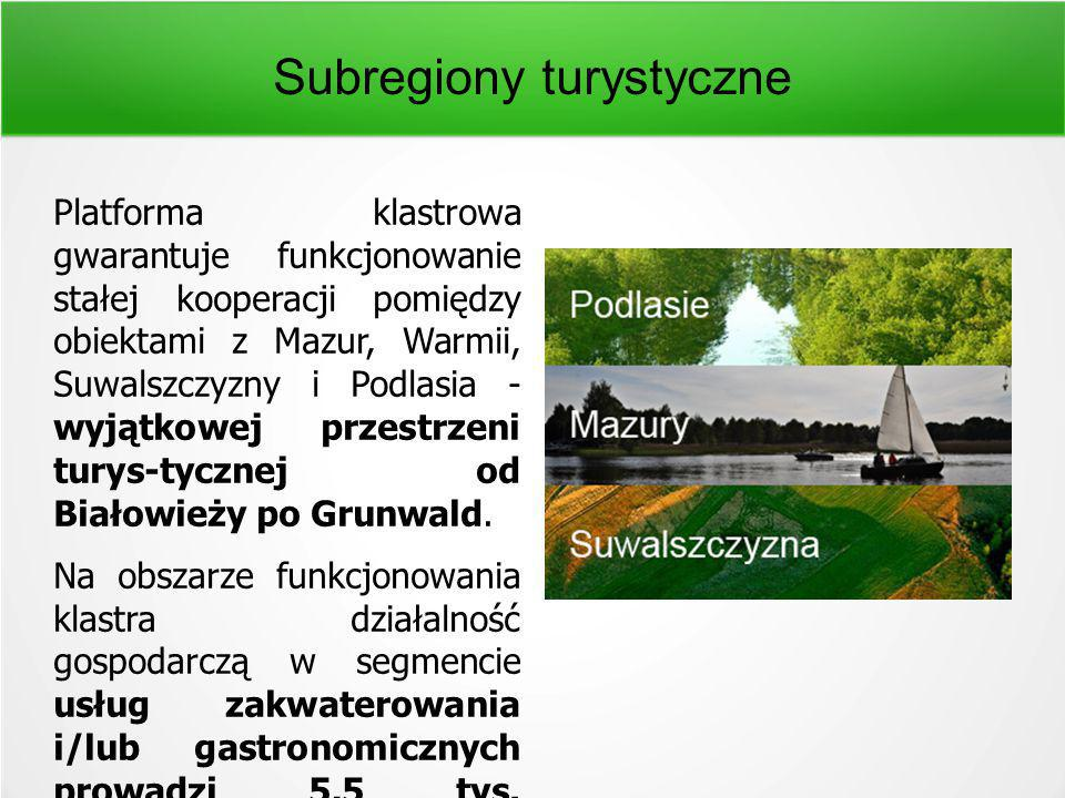 Subregiony turystyczne Platforma klastrowa gwarantuje funkcjonowanie stałej kooperacji pomiędzy obiektami z Mazur, Warmii, Suwalszczyzny i Podlasia - wyjątkowej przestrzeni turys-tycznej od Białowieży po Grunwald.