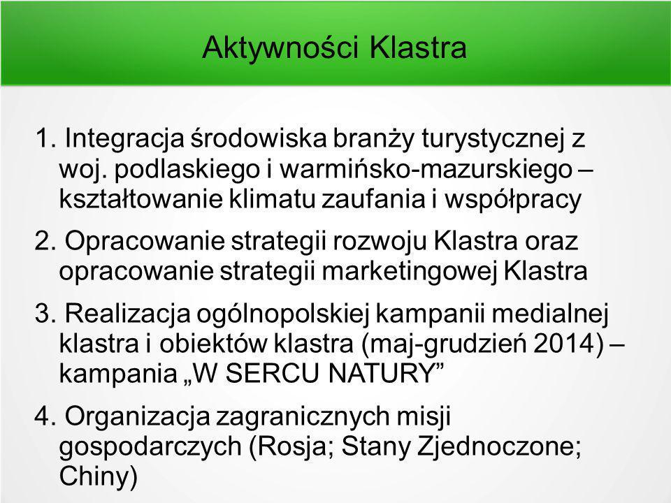 Aktywności Klastra 1. Integracja środowiska branży turystycznej z woj.