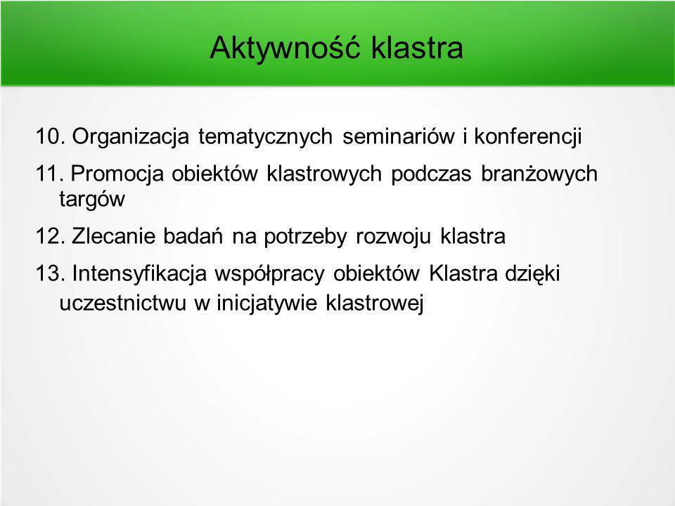 Aktywność klastra 10. Organizacja tematycznych seminariów i konferencji 11.