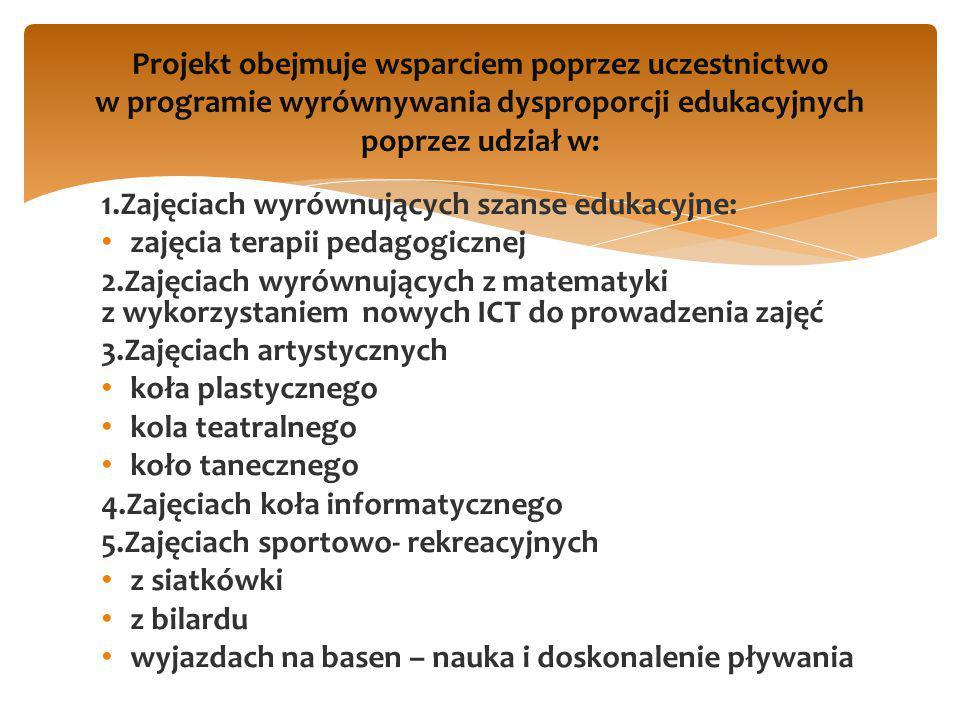 1.Zajęciach wyrównujących szanse edukacyjne: zajęcia terapii pedagogicznej 2.Zajęciach wyrównujących z matematyki z wykorzystaniem nowych ICT do prowa