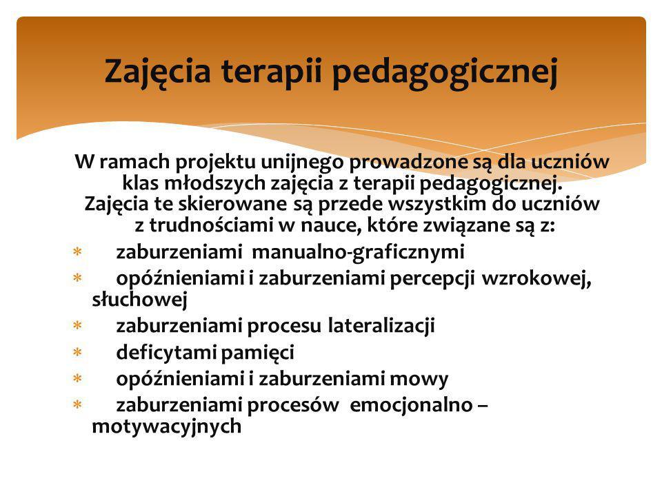 W ramach projektu unijnego prowadzone są dla uczniów klas młodszych zajęcia z terapii pedagogicznej.
