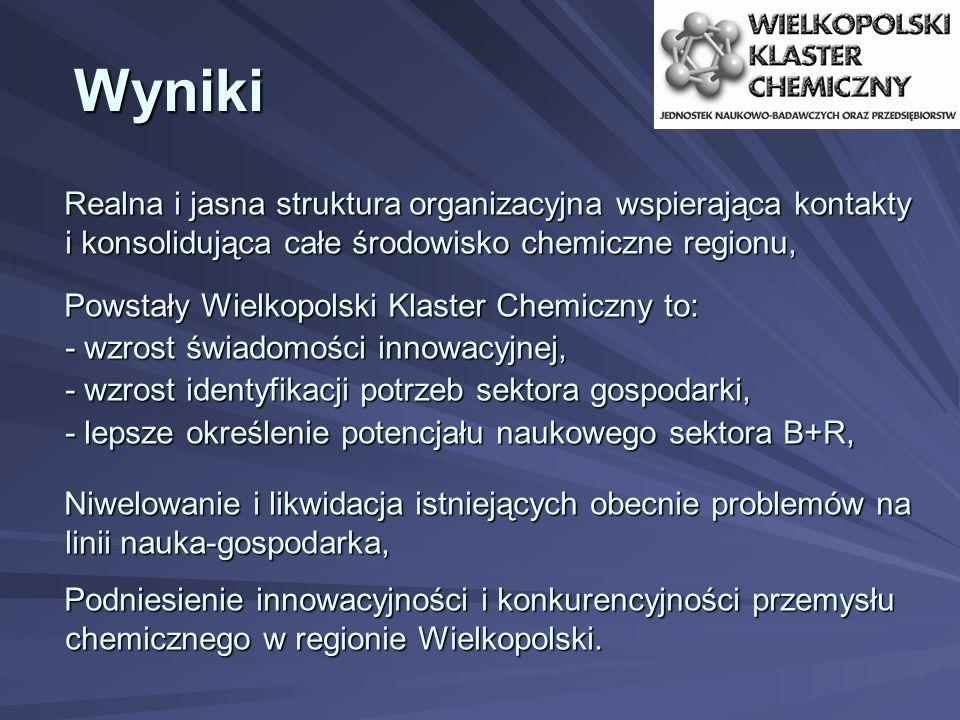 Wyniki Realna i jasna struktura organizacyjna wspierająca kontakty i konsolidująca całe środowisko chemiczne regionu, Powstały Wielkopolski Klaster Ch