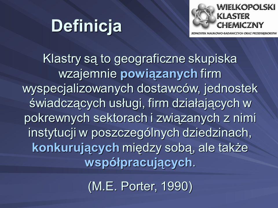 Definicja Klastry są to geograficzne skupiska wzajemnie powiązanych firm wyspecjalizowanych dostawców, jednostek świadczących usługi, firm działających w pokrewnych sektorach i związanych z nimi instytucji w poszczególnych dziedzinach, konkurujących między sobą, ale także współpracujących.