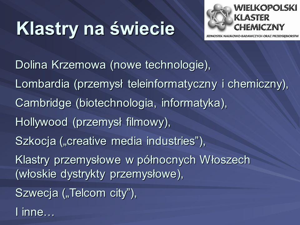"""Klastry na świecie Dolina Krzemowa (nowe technologie), Lombardia (przemysł teleinformatyczny i chemiczny), Cambridge (biotechnologia, informatyka), Hollywood (przemysł filmowy), Szkocja (""""creative media industries ), Klastry przemysłowe w północnych Włoszech (włoskie dystrykty przemysłowe), Szwecja (""""Telcom city ), I inne…"""