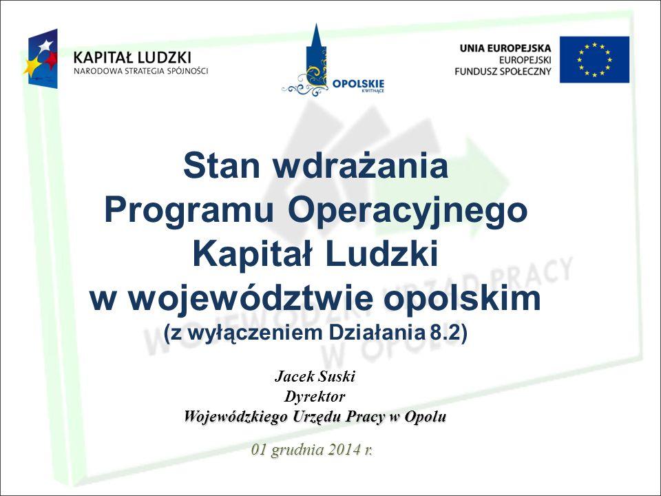 Stan wdrażania Programu Operacyjnego Kapitał Ludzki w województwie opolskim (z wyłączeniem Działania 8.2) 01 grudnia 2014 r.