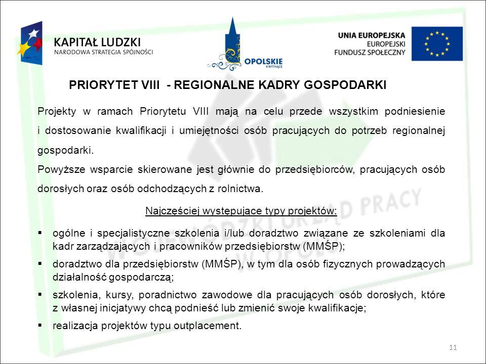 11 PRIORYTET VIII - REGIONALNE KADRY GOSPODARKI Projekty w ramach Priorytetu VIII mają na celu przede wszystkim podniesienie i dostosowanie kwalifikacji i umiejętności osób pracujących do potrzeb regionalnej gospodarki.