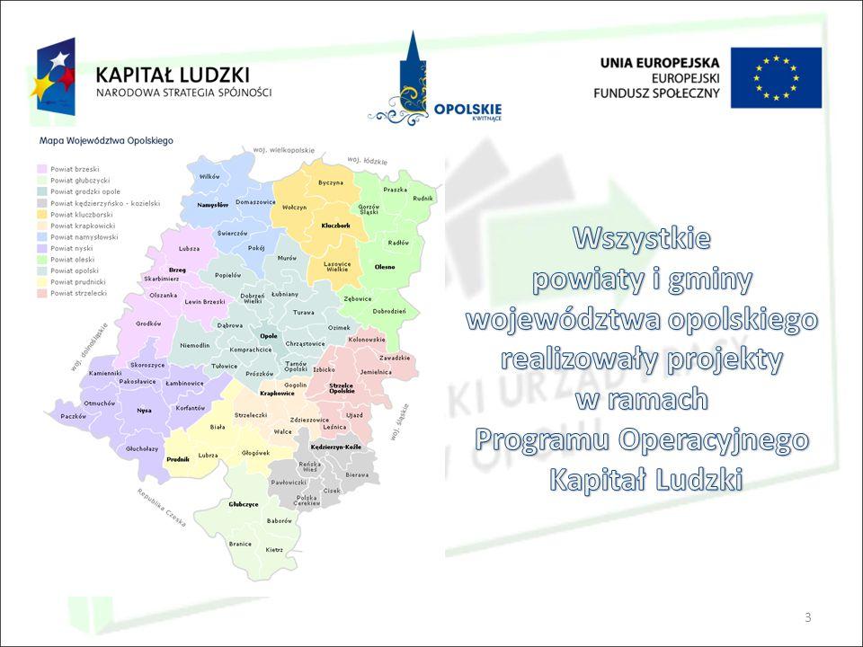4 982 mln zł - Wartość podpisanych umów 799 mln zł - Wartość zatwierdzonych wydatków Łączna wartość środków PO KL (z wyłączeniem Działania 8.2) w województwie opolskim wynosi ponad 934 mln PLN.