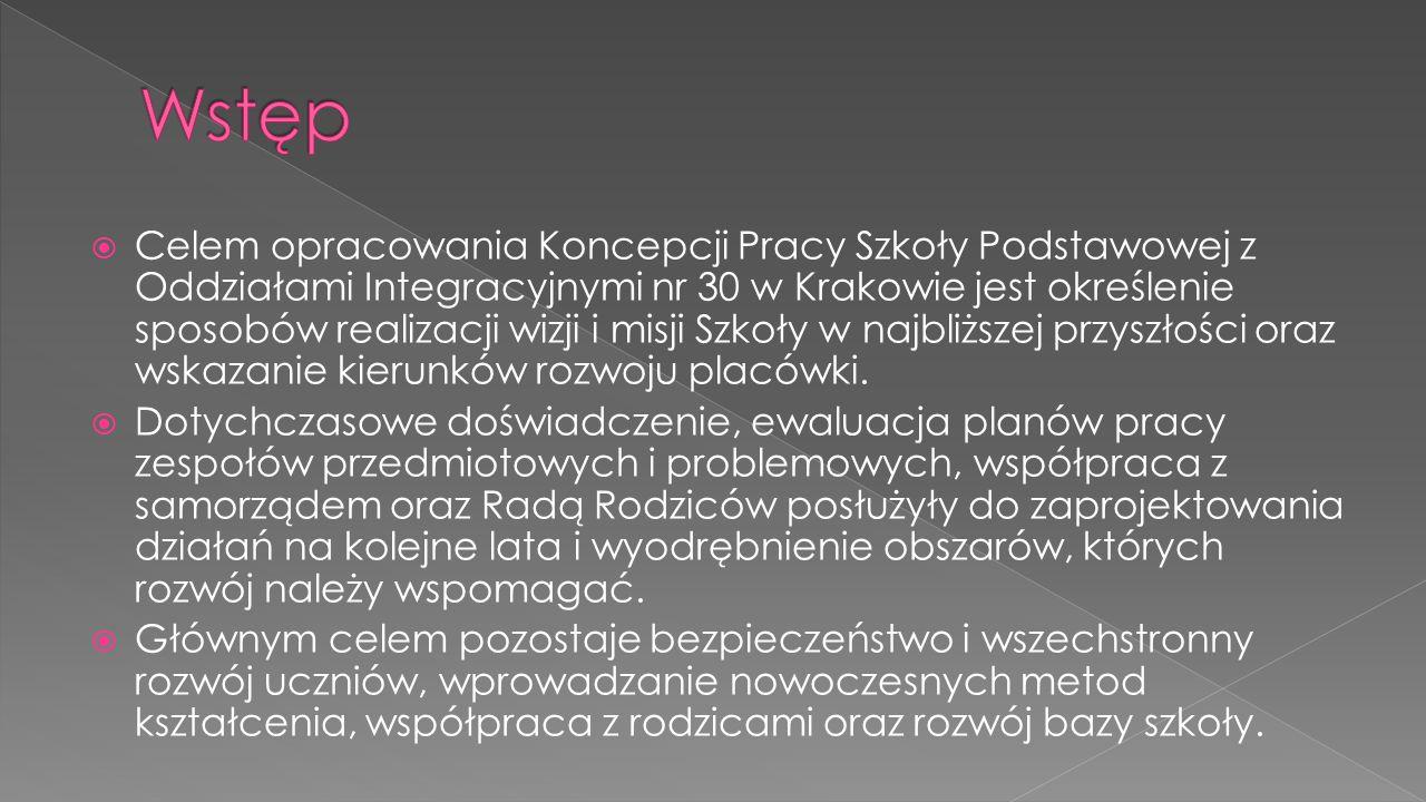  Celem opracowania Koncepcji Pracy Szkoły Podstawowej z Oddziałami Integracyjnymi nr 30 w Krakowie jest określenie sposobów realizacji wizji i misji Szkoły w najbliższej przyszłości oraz wskazanie kierunków rozwoju placówki.