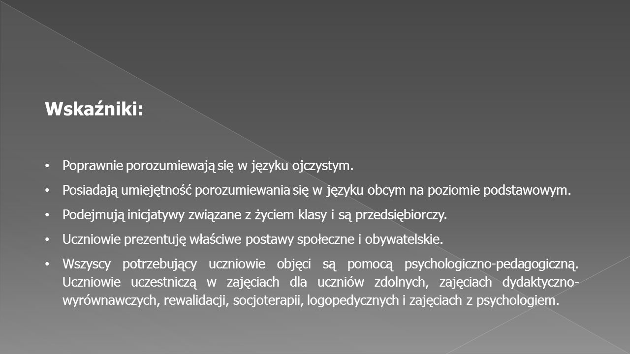 Wskaźniki: Poprawnie porozumiewają się w języku ojczystym.