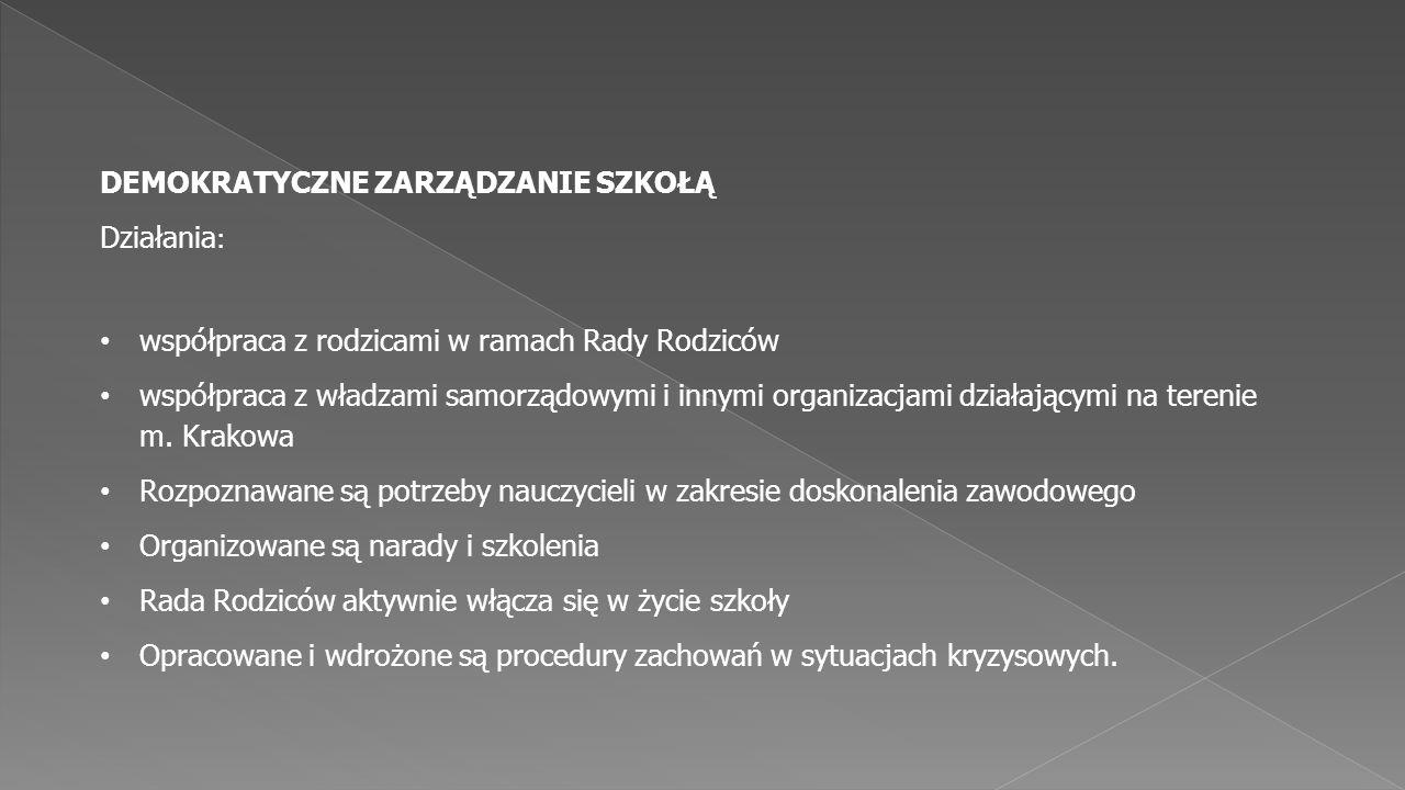 współpraca z rodzicami w ramach Rady Rodziców współpraca z władzami samorządowymi i innymi organizacjami działającymi na terenie m. Krakowa Rozpoznawa